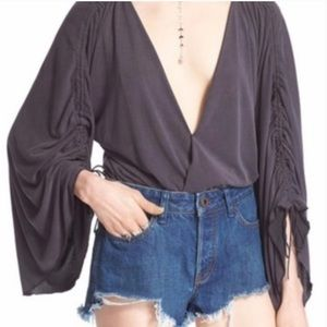 Free People • Boho Ruched Sleeve Wrap Top